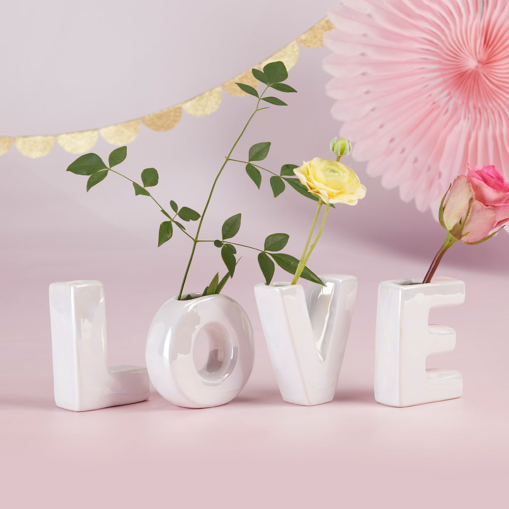 Iridescent LOVE Ceramic Bud Vase Set