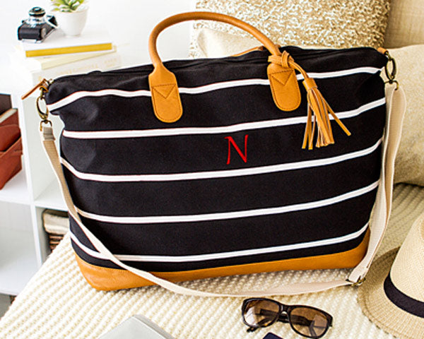 Personalized Oversized Weekender Tote Striped Canvas (Available in Black & Grey)