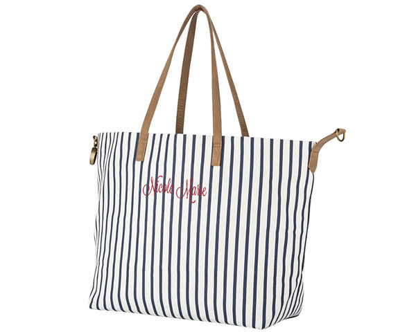 Load image into Gallery viewer, Personalized Striped Overnight Tote