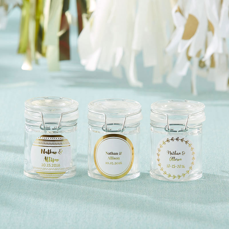 Personalized Gold Foil Glass Favor Jars (Set of 12)