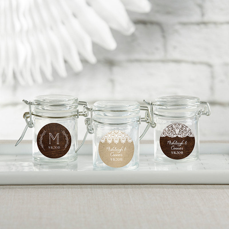 Personalized Rustic Charm Wedding Glass Favor Jars (Set of 12)