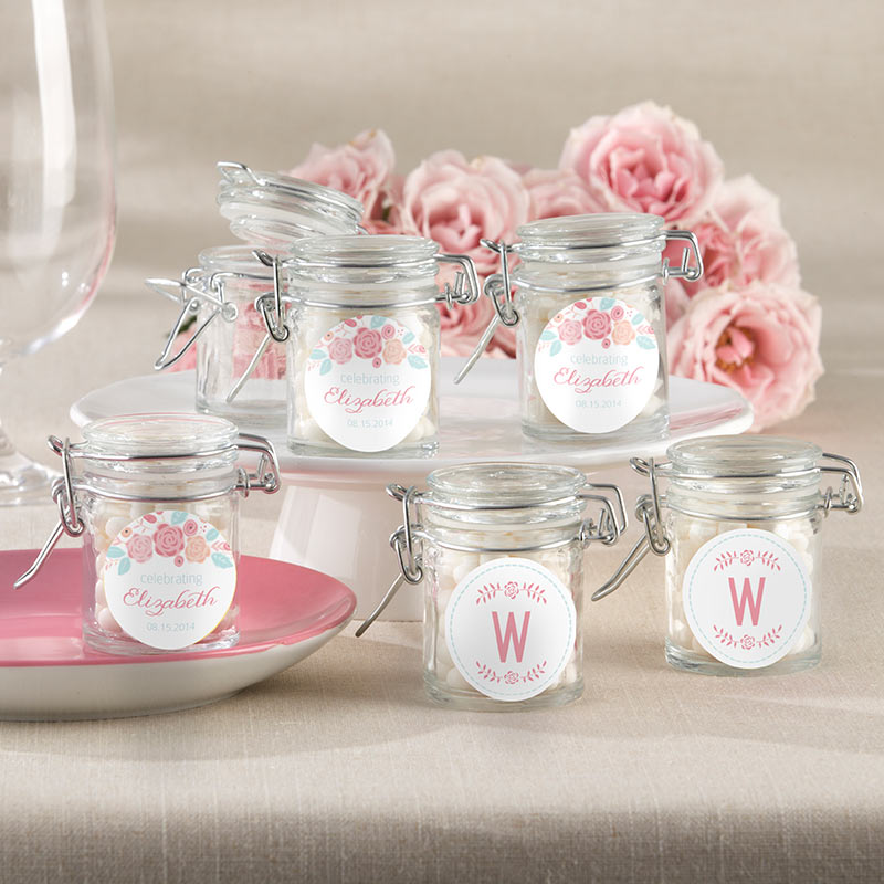 Personalized Rustic Vintage Bridal Glass Favor Jars (Set of 12)
