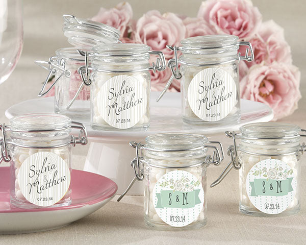 Personalized Rustic Wedding Glass Favor Jars (Set of 12)