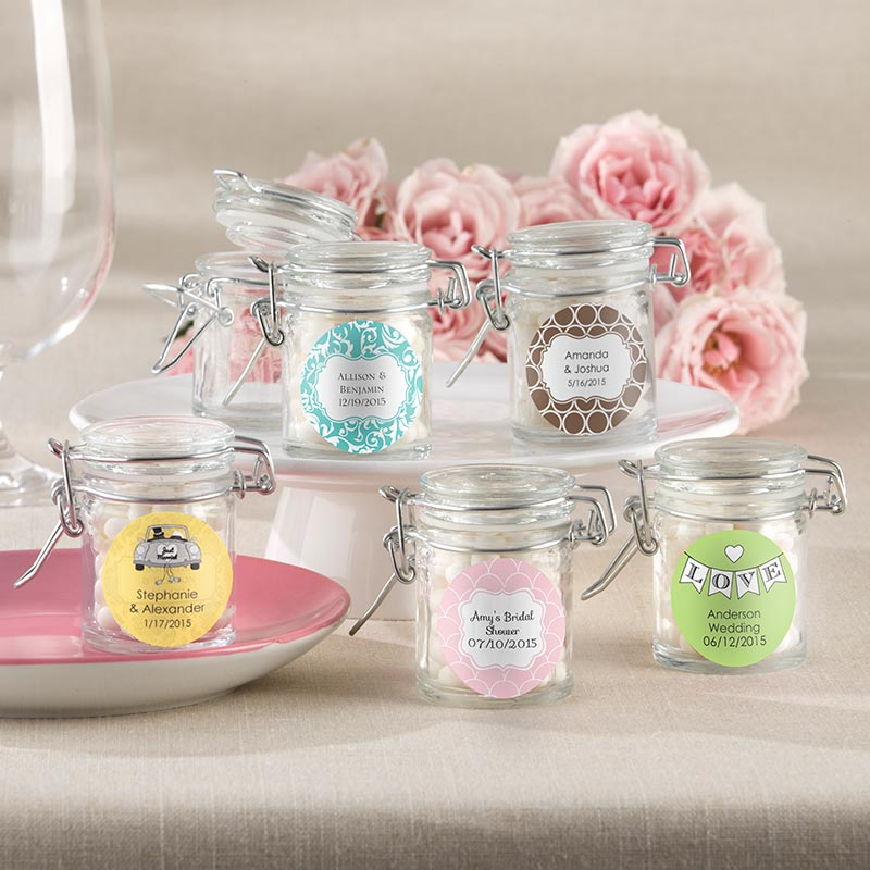 Personalized Wedding Favor Jars - 12 Glass Favor Jars w/ Swing Top