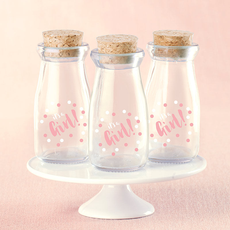 Load image into Gallery viewer, It's a Girl Polka Dot Vintage Milk Bottle Favor Jar (Set of 12)