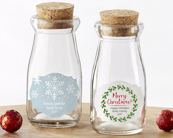 Load image into Gallery viewer, Personalized Holiday Vintage Milk Bottle Favor Jar (Set of 12)
