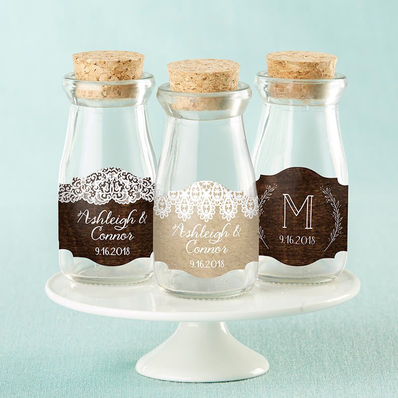 Personalized Rustic Charm Wedding Vintage Milk Bottle Favor Jar (Set of 12)