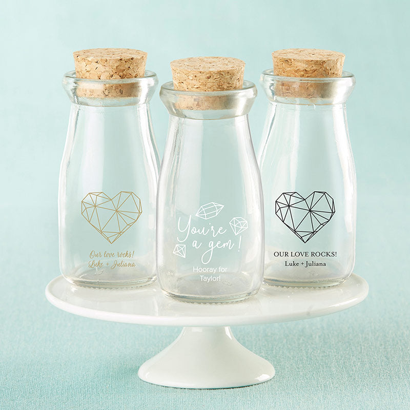 Personalized Elements Printed Vintage Milk Bottle Favor Jar (Set of 12)