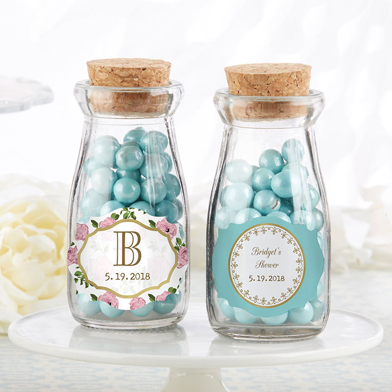 Personalized Tea Time Vintage Milk Bottle Favor Jar (Set of 12)
