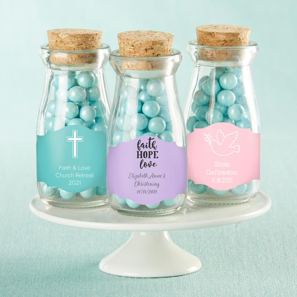 Personalized Religious Vintage Milk Bottle Favor Jar (Set of 12)