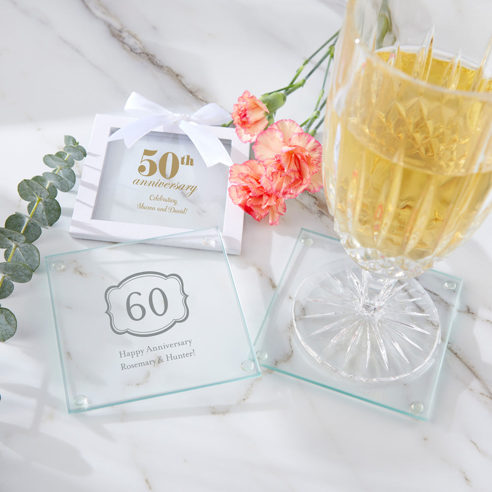 Personalized Anniversary Glass Coaster (Set of 12)