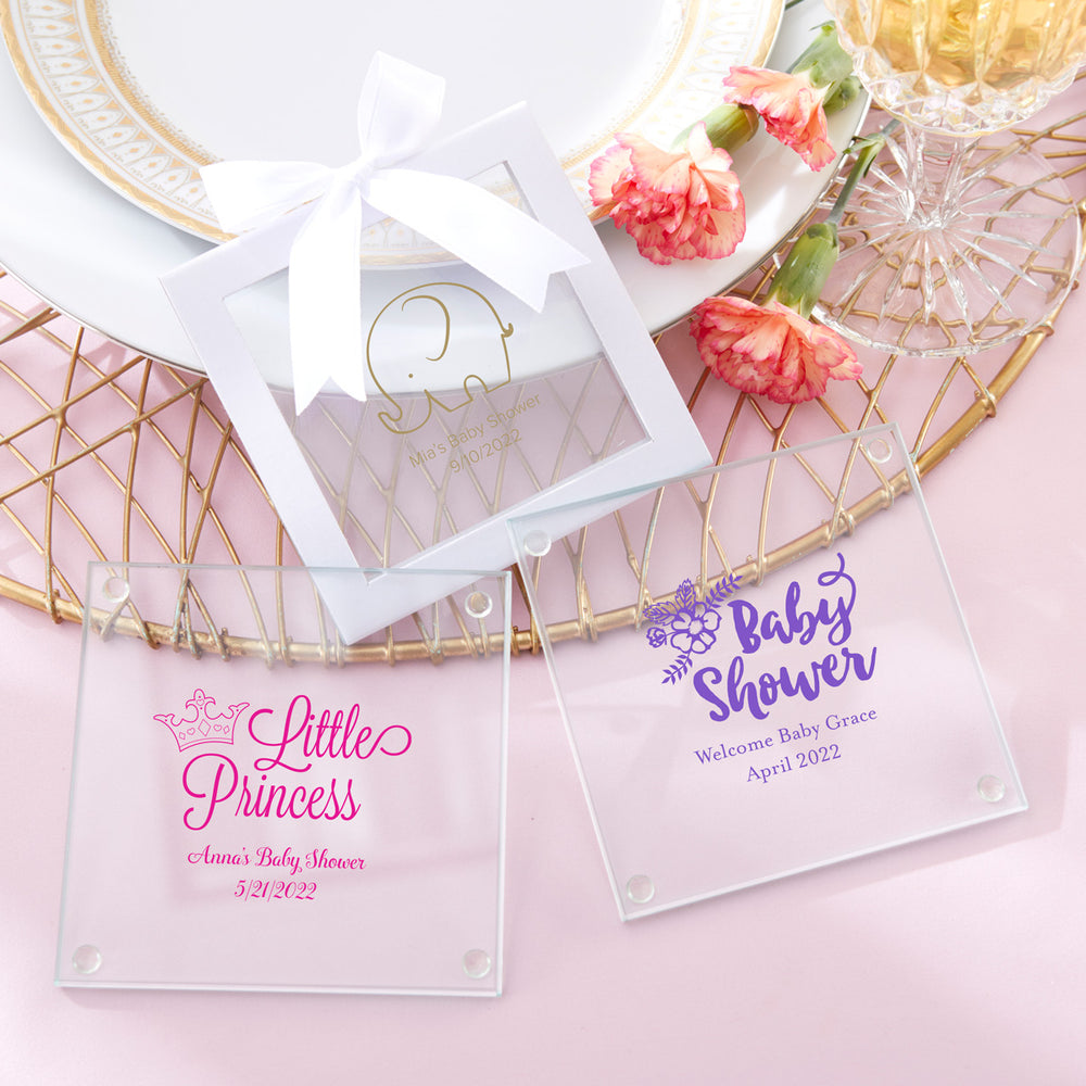 Personalized Baby Shower Glass Coaster (Set of 12)