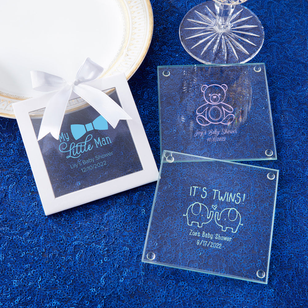 Load image into Gallery viewer, Personalized Baby Shower Glass Coaster (Set of 12)