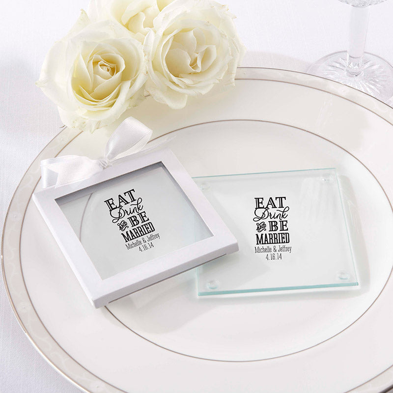 Personalized Eat, Drink & Be Married Glass Coaster (Set of 12)