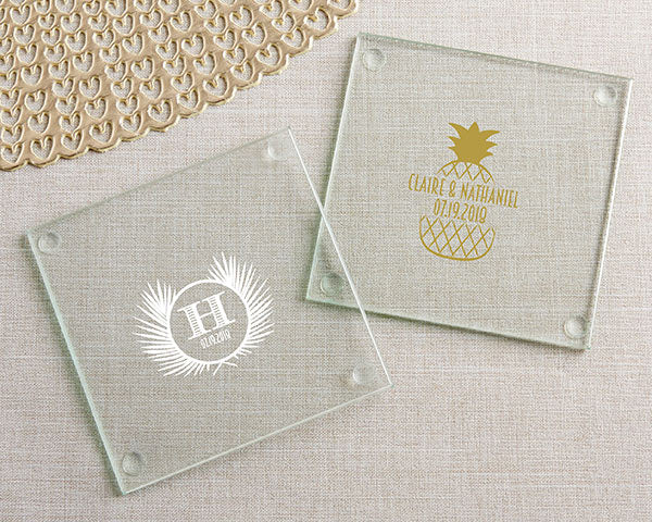 Personalized Tropical Chic Glass Coaster (Set of 12)