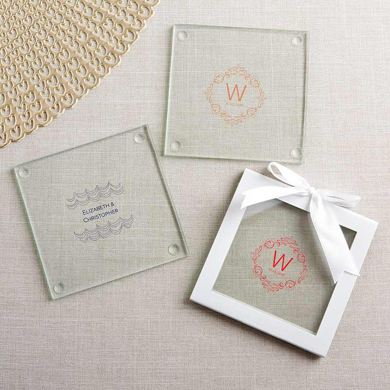 Personalized Modern Romance Glass Coaster (Set of 12)