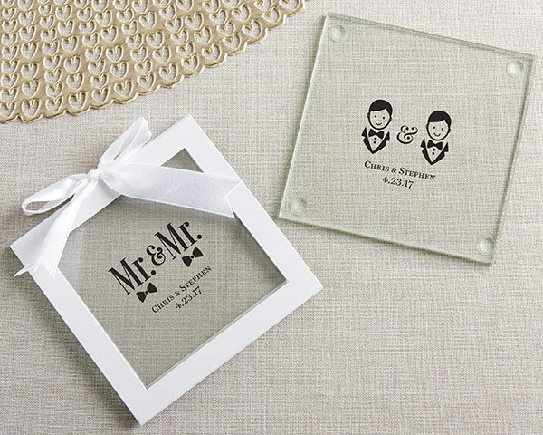 Personalized Mr. & Mr. Glass Coaster (Set of 12)