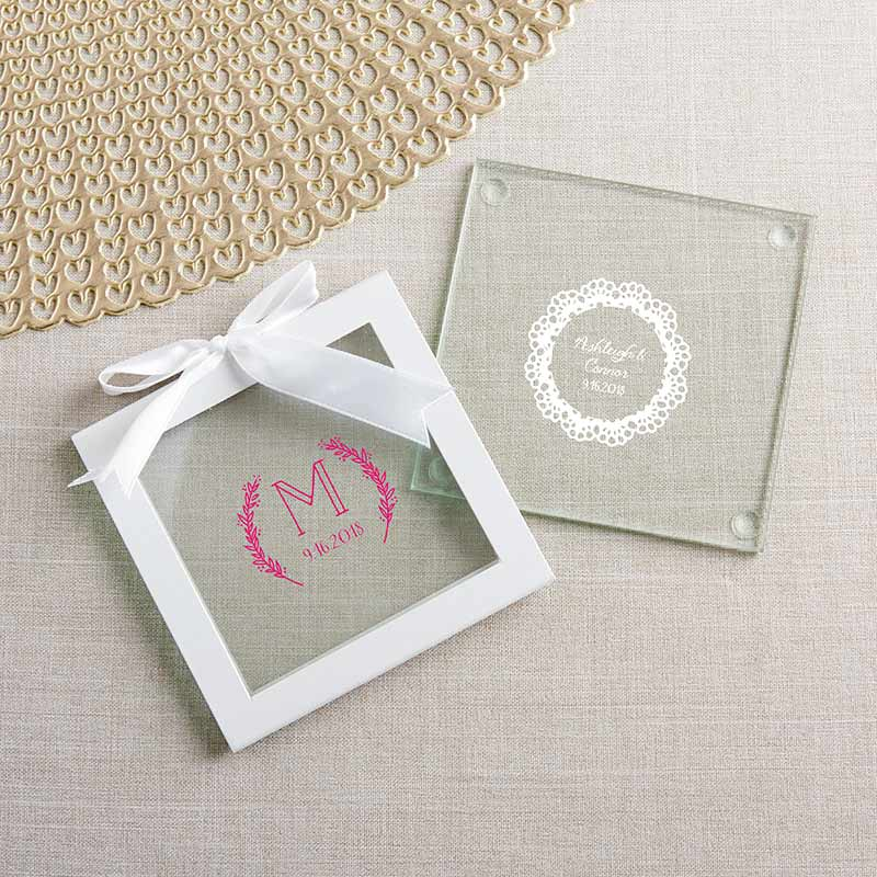 Personalized Rustic Charm Wedding Glass Coaster (Set of 12)