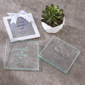 Load image into Gallery viewer, Personalized Wedding Glass Coaster (Set of 12)
