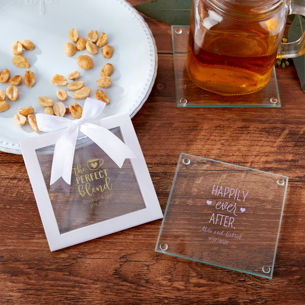 Personalized Wedding Glass Coaster (Set of 12)