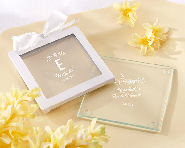 Personalized Rustic Bridal Shower Glass Coaster (Set of 12)