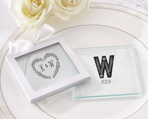 Personalized Rustic Wedding Glass Coaster (Set of 12)
