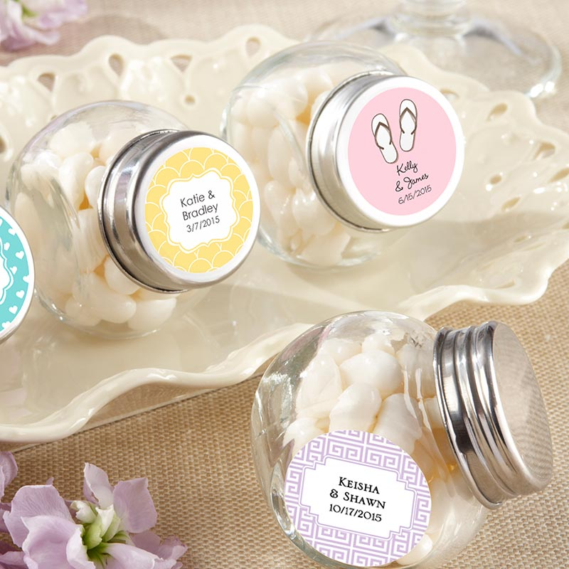 Load image into Gallery viewer, Personalized Wedding Mini Glass Favor Jar (Set of 12)