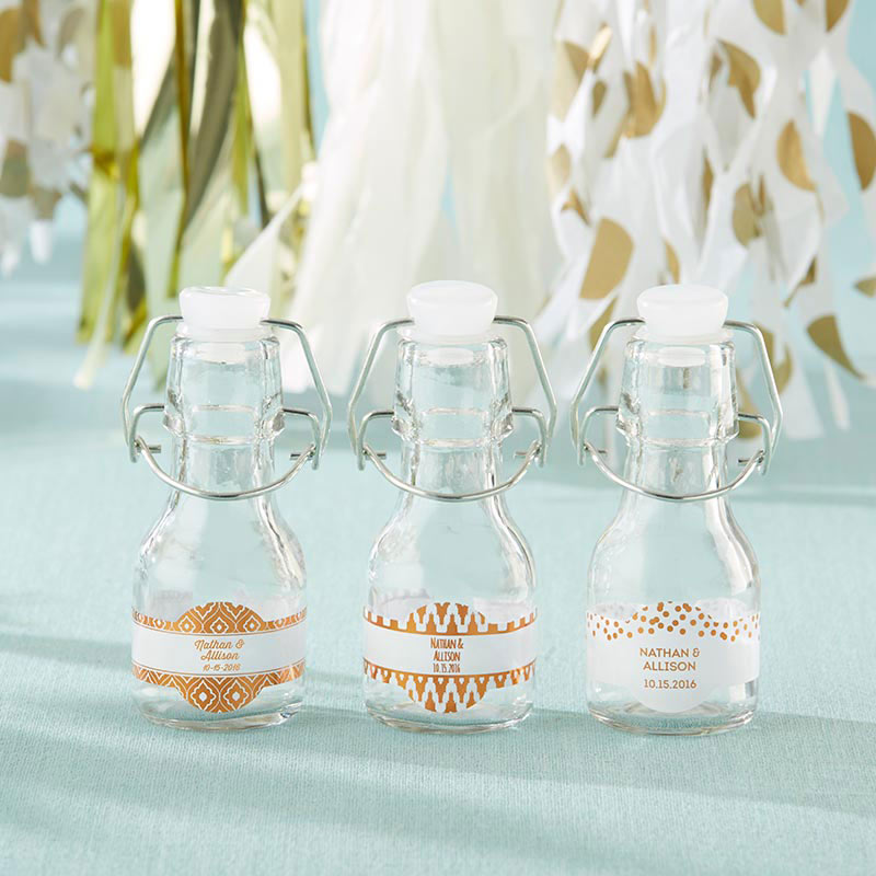 Copper Foil Mini Glass Favor Bottle with Swing Top (Set of 12)