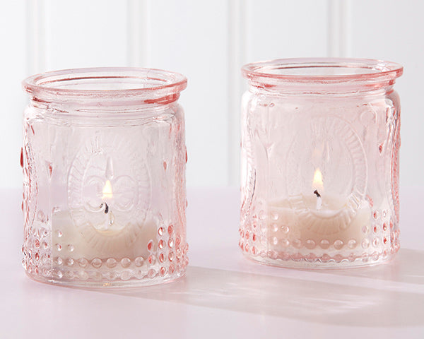 Vintage Pink Glass Tea Light Holder (Set of 4)
