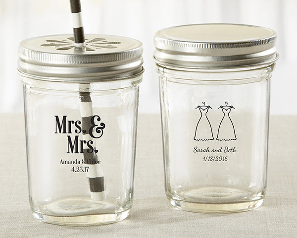 Personalized Mrs. and Mrs. Printed Mason Jar (Set of 12)