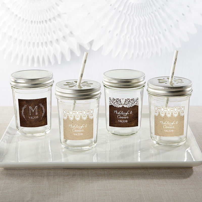 Personalized Rustic Charm Wedding Mason Jar (Set of 12)
