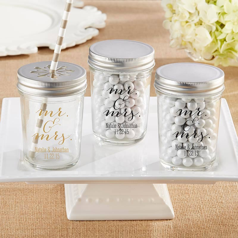 Personalized Mr. & Mrs. Printed 8 oz. Glass Mason Jar (Set of 12)