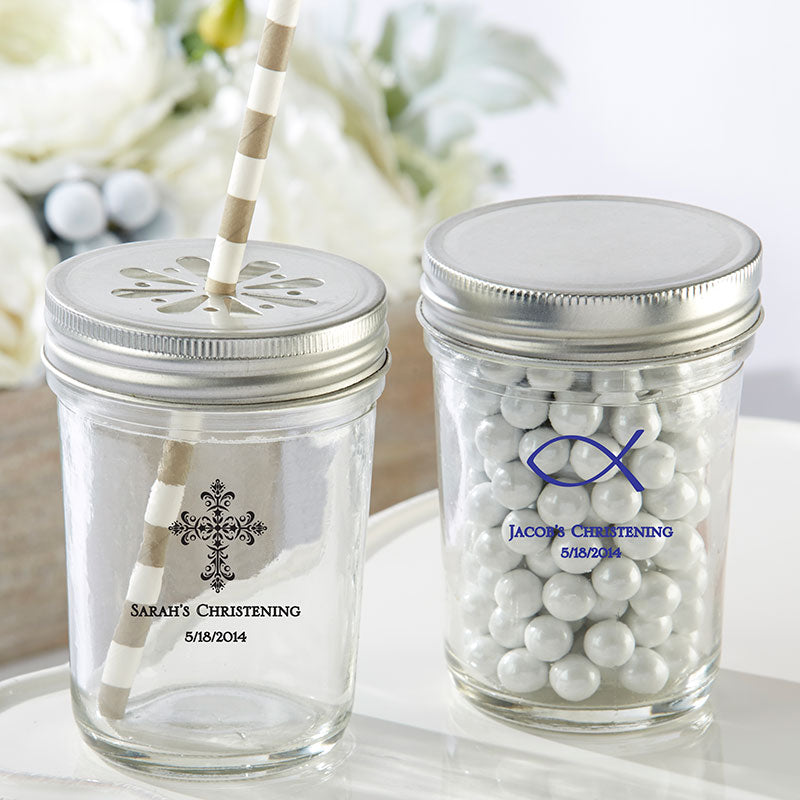 Load image into Gallery viewer, Personalized Printed Religious 8 oz. Glass Mason Jar (Set of 12)