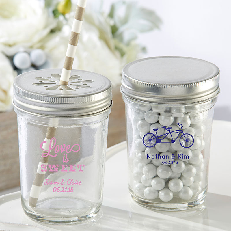 Personalized Wedding Printed 8 oz. Glass Mason Jar (Set of 12)