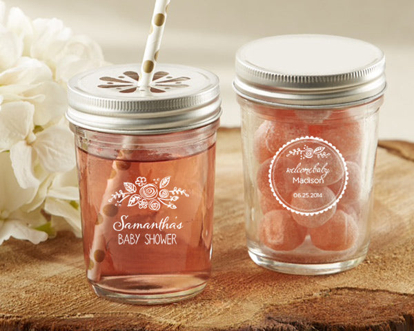 Personalized Rustic Baby Shower Printed 8 oz. Glass Mason Jar (Set of 12)