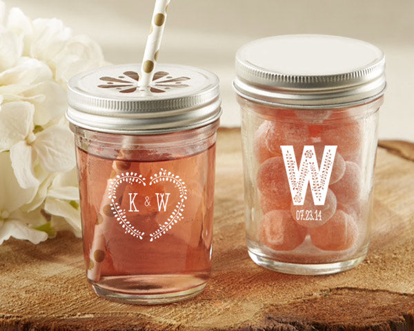 Personalized Rustic Wedding Printed 8 oz. Glass Mason Jar (Set of 12)