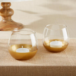 Gold Dipped Glass Votive Holder (Set of 4)
