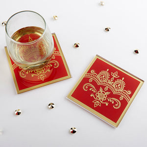 Load image into Gallery viewer, Indian Jewel Glass Coaster (Set of 2)