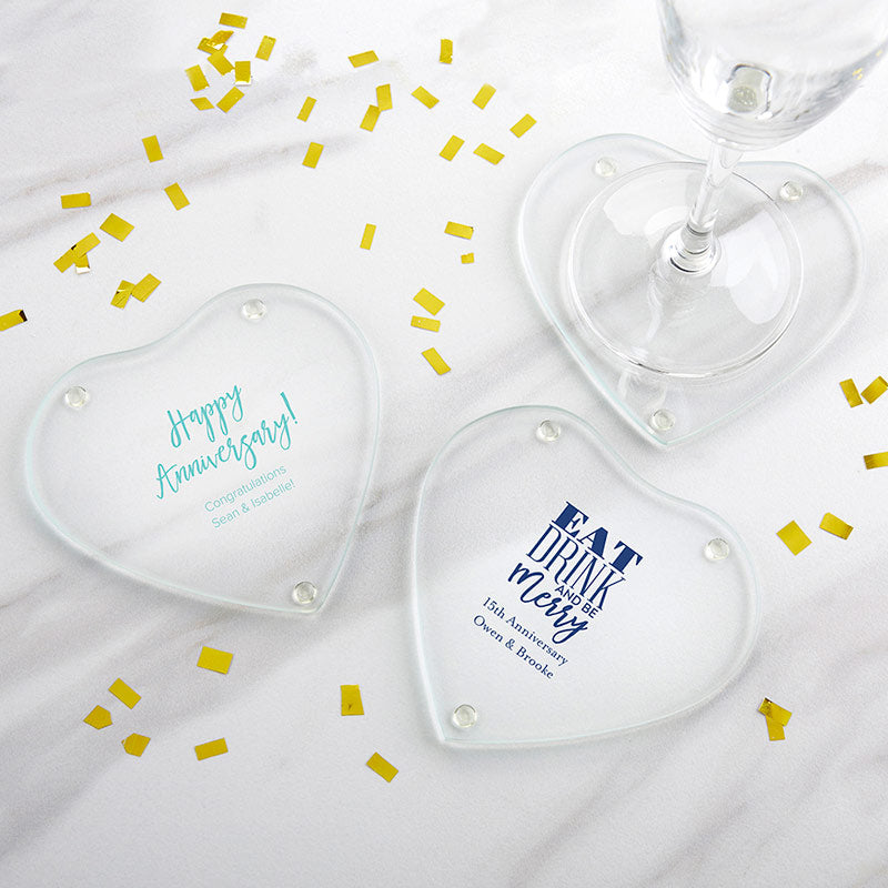 Personalized Anniversary Glass Heart Shaped Coaster (Set of 12)