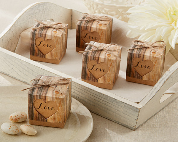 Hearts in Love Rustic Favor Box (Set of 24)