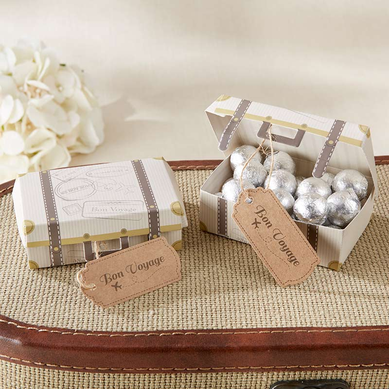Load image into Gallery viewer, Bon Voyage Vintage Suitcase Favor Boxes (Set of 24)