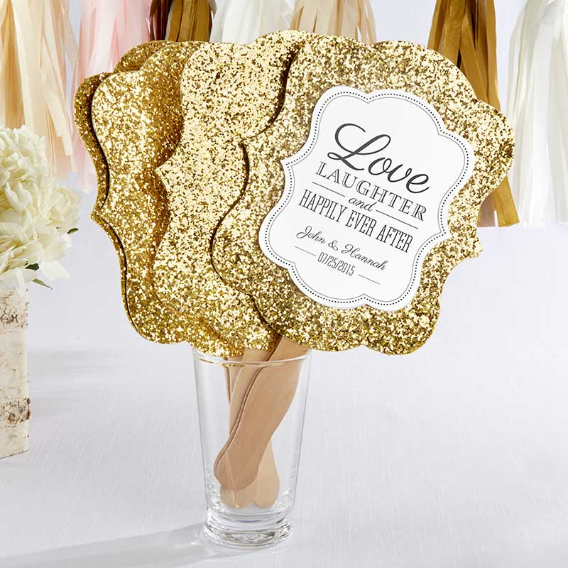 Gold Glitter Hand Fan - Set of 12 (Personalization Available)