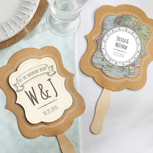 Personalized Travel & Adventure Kraft Fan (Set of 12)