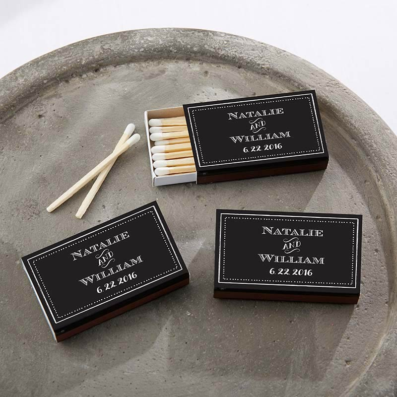 Personalized Black Wedding Matchboxes - Chalk (Set of 50)
