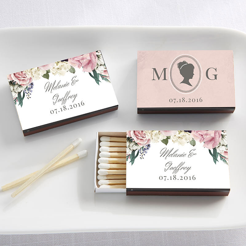 Personalized English Garden Black Matchboxes (Set of 50)