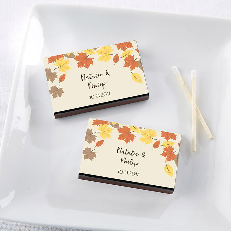 Personalized Fall Leaves Black Matchboxes (Set of 50)