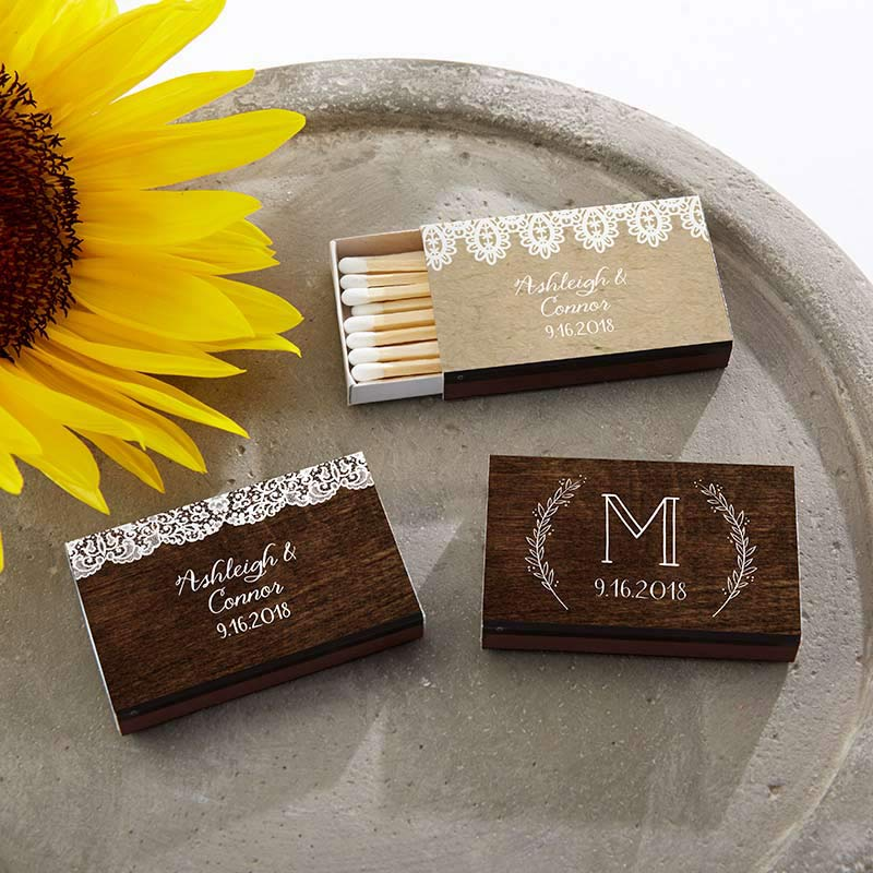 Personalized Rustic Charm Wedding Black Matchboxes (Set of 50)