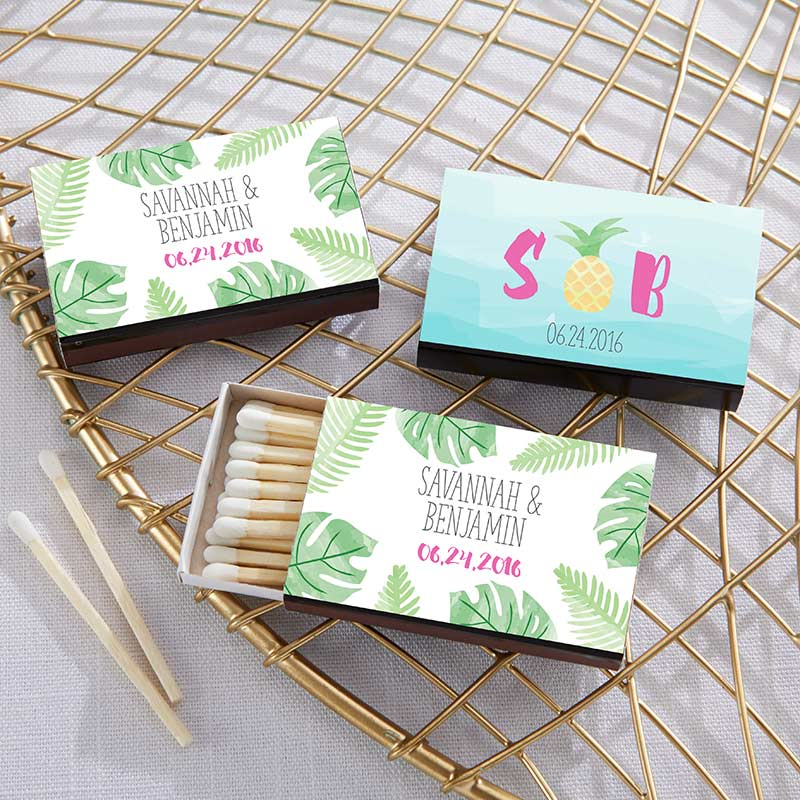 Personalized Pineapples & Palms Black Matchboxes (Set of 50)