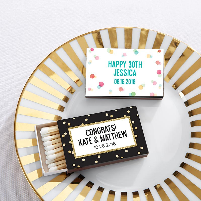 Personalized Party Time Black Matchboxes (Set of 50)