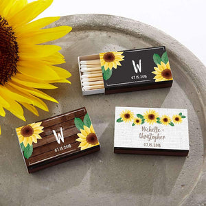 Personalized Sunflower Black Matchboxes (Set of 50)